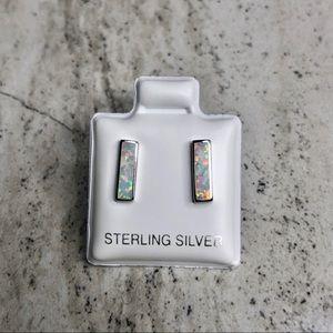 925 Sterling Silver White Lab Opal Bar Earrings